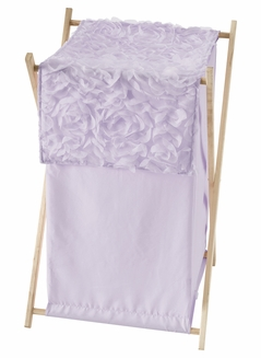 Purple Floral Rose Baby Kid Clothes Laundry Hamper by Sweet Jojo Designs - Solid Light Lavender Flower Luxurious Elegant Princess Vintage Boho Shabby Chic Luxury Glam High End Roses
