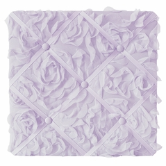 Purple Floral Rose Fabric Memory Memo Photo Bulletin Board by Sweet Jojo Designs - Solid Light Lavender Flower Luxurious Elegant Princess Vintage Boho Shabby Chic Luxury Glam High End Roses