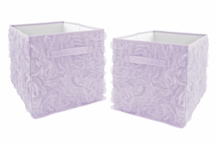 Purple Floral Rose Foldable Fabric Storage Cube Bins Boxes Organizer Toys Kids Baby Childrens by Sweet Jojo Designs - Set of 2 - Solid Light Lavender Flower Luxurious Elegant Princess Vintage Boho Shabby Chic Luxury Glam High End Roses