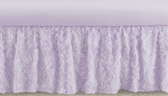 Purple Floral Rose Girl Baby Nursery Crib Bed Skirt Dust Ruffle by Sweet Jojo Designs - Solid Light Lavender Flower Luxurious Elegant Princess Vintage Boho Shabby Chic Luxury Glam High End Roses