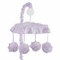 Purple Floral Rose Girl Baby Nursery Musical Crib Mobile by Sweet Jojo Designs - Solid Light Lavender Flower Luxurious Elegant Princess Vintage Boho Shabby Chic Luxury Glam High End Ruffle Roses