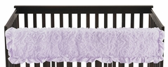 Purple Floral Rose Girl Long Front Crib Rail Guard Baby Teething Cover Protector Wrap by Sweet Jojo Designs - Solid Light Lavender Flower Luxurious Elegant Princess Vintage Boho Shabby Chic Luxury Glam High End Ruffle Roses