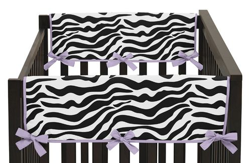 Purple Funky Zebra Baby Crib Side Rail Guard Covers by Sweet Jojo Designs - Set of 2 - Click to enlarge