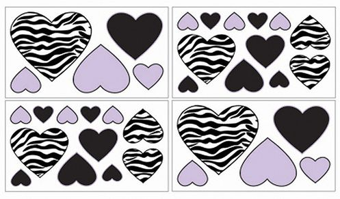 Purple Funky Zebra Baby, Kids and Teens Wall Decal Stickers - Set of 4 Sheets - Click to enlarge