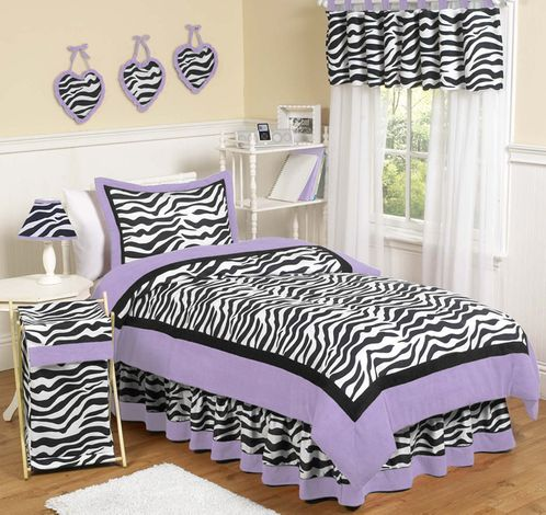 Purple Funky Zebra Childrens Bedding - 4 pc Twin Set - Click to enlarge