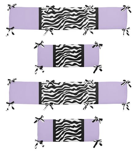 Purple Funky Zebra Collection Crib Bumper by Sweet Jojo Designs - Click to enlarge