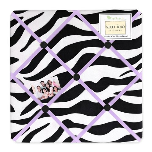 Purple Funky Zebra Fabric Memory/Memo Photo Bulletin Board - Click to enlarge