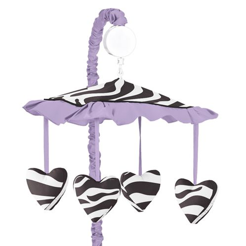 Purple Funky Zebra Musical Baby Girls Crib Mobile by Sweet Jojo Designs - Click to enlarge