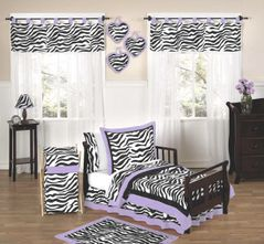 Purple Funky Zebra Toddler Bedding - 5pc Set
