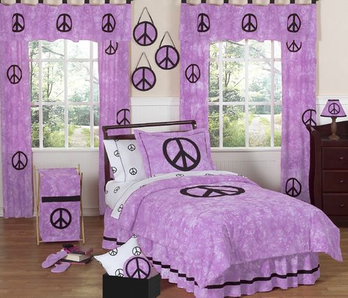 Purple Groovy Peace Sign Tie Dye Children's Bedding - 3 pc Full / Queen Set - Click to enlarge