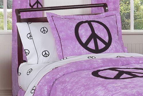 Purple Groovy Peace Sign Tie Dye Pillow Sham - Click to enlarge