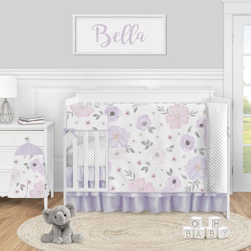 Purple Watercolor Floral Baby Girl Nursery Crib Bedding Set by Sweet Jojo Designs - 5 pieces - Lavender Pink and Grey Shabby Chic Rose Flower Polka Dot - Click to enlarge