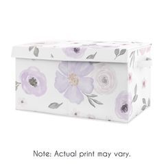 Purple Watercolor Floral Girl Small Fabric Toy Bin Storage Box Chest For Baby Nursery or Kids Room by Sweet Jojo Designs - Lavender, Pink and Grey Shabby Chic Rose Flower