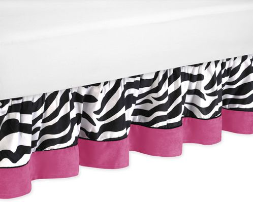 Queen Bed Skirt for Hot Pink & Zebra Print Bedding Set by Sweet Jojo Designs - Click to enlarge