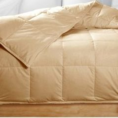 Queen Gold Beige Feather Down Comforter