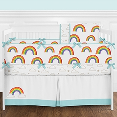 Rainbow Baby Girl or Boy Gender Neutral Nursery Crib Bedding Set with Bumper by Sweet Jojo Designs - 9 pieces - Colorful Gold Star and Cloud
