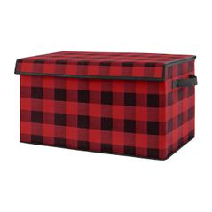 Red and Black Buffalo Plaid Check Boy Small Fabric Toy Bin Storage Box Chest For Baby Nursery or Kids Room by Sweet Jojo Designs - Woodland Rustic Country Farmhouse Lumberjack Check