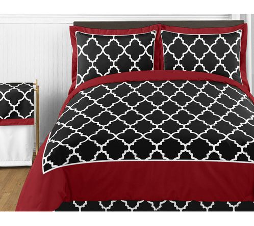 Red and Black Trellis 4pc Childrens and Kids Twin Bedding Set by Sweet Jojo Designs - Click to enlarge