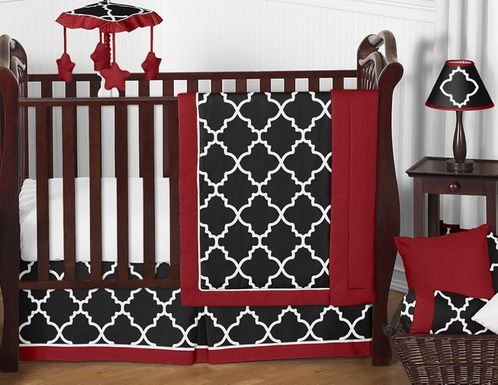 Red And Black Trellis Baby Bedding