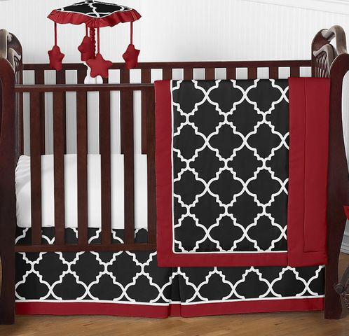 Red and Black Trellis Baby Bedding - 4pc Crib Set by Sweet Jojo Designs - Click to enlarge
