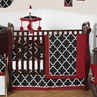 Red and Black Trellis Baby Bedding - 9pc Crib Set by Sweet Jojo Designs