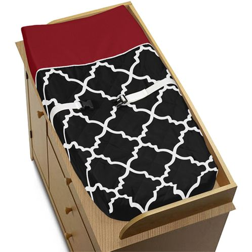 Red and Black Trellis Baby Changing Pad Cover by Sweet Jojo Designs - Click to enlarge