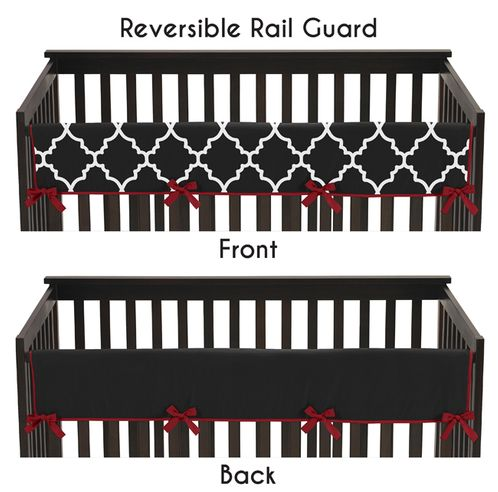 Red and Black Trellis Baby Crib Long Rail Guard Cover by Sweet Jojo Designs - Click to enlarge