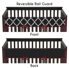 Red and Black Trellis Baby Crib Long Rail Guard Cover by Sweet Jojo Designs