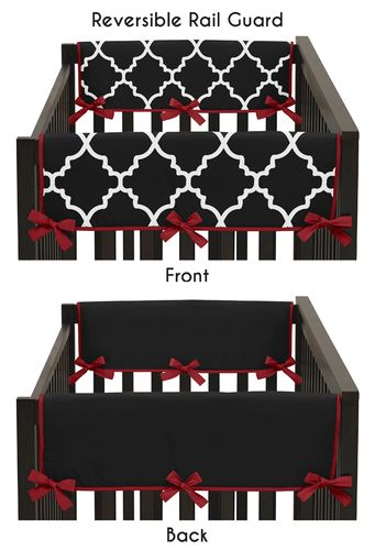 Red and Black Trellis Baby Crib Side Rail Guard Covers by Sweet Jojo Designs - Set of 2 - Click to enlarge