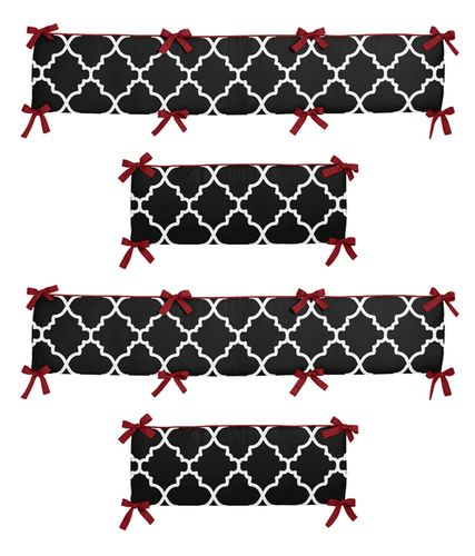 Red and Black Trellis Collection Crib Bumper by Sweet Jojo Designs - Click to enlarge