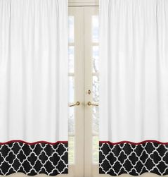 Red and Black Trellis Collection Lattice Window Treatment Panels - Set of 2