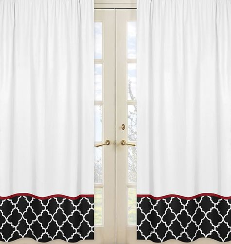 Red and Black Trellis Collection Lattice Window Treatment Panels - Set of 2 - Click to enlarge