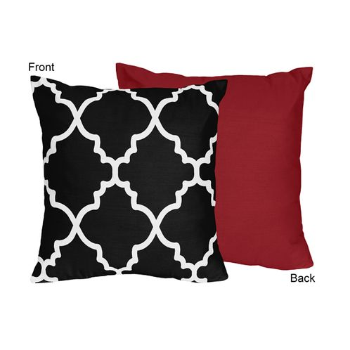 Red and Black Trellis Decorative Accent Throw Pillow by Sweet Jojo Designs - Click to enlarge