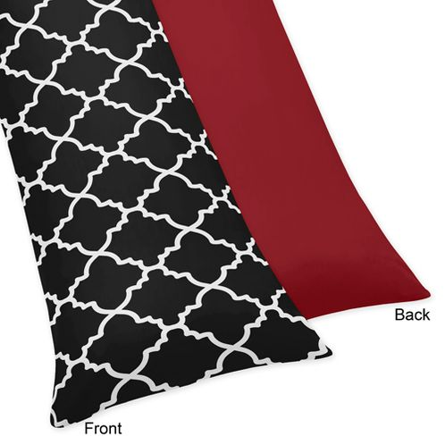Red and Black Trellis Full Length Double Zippered Body Pillow Case Cover - Click to enlarge