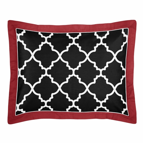 Red and Black Trellis Pillow Sham by Sweet Jojo Designs - Click to enlarge