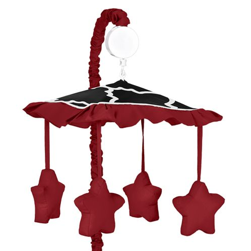 Red and Black Trellis Print Musical Baby Crib Mobile by Sweet Jojo Designs - Click to enlarge
