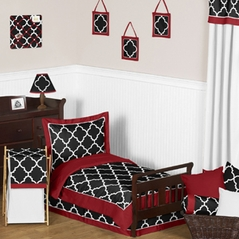 Red and Black Trellis Toddler Bedding - 5pc Set by Sweet Jojo Designs