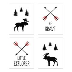 Red and Black Woodland Arrow Moose Wall Art Prints Room Decor for Baby, Nursery, and Kids for Rustic Patch Collection by Sweet Jojo Designs - Set of 4 - Be Brave Little Explorer