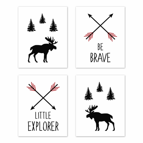 Red and Black Woodland Arrow Moose Wall Art Prints Room Decor for Baby, Nursery, and Kids for Rustic Patch Collection by Sweet Jojo Designs - Set of 4 - Be Brave Little Explorer - Click to enlarge
