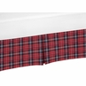 Red and Black Woodland Plaid Baby Boy Pleated Crib Bed Skirt Dust Ruffle for Rustic Patch Collection by Sweet Jojo Designs - Flannel