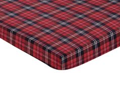 Red and Black Woodland Plaid Flannel Baby Fitted Mini Portable Crib Sheet for Rustic Patch Collection by Sweet Jojo Designs