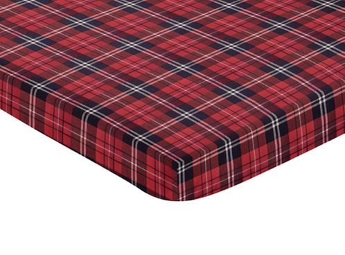 Red and Black Woodland Plaid Flannel Baby Fitted Mini Portable Crib Sheet for Rustic Patch Collection by Sweet Jojo Designs - Click to enlarge