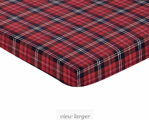 Red And Black Woodland Plaid Flannel Baby Fitted Mini
