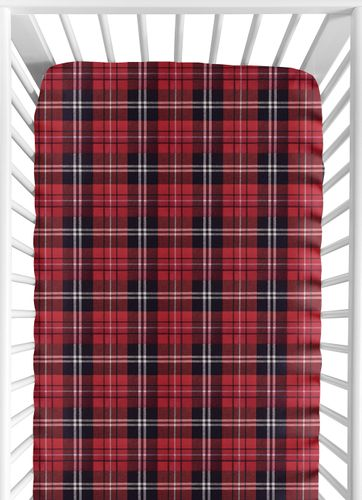 Red and Black Woodland Plaid Flannel Baby or Toddler Fitted Crib Sheet for Rustic Patch Collection by Sweet Jojo Designs - Click to enlarge