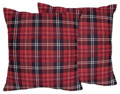 Red and Black Woodland Plaid Flannel Decorative Accent Throw Pillows for Rustic Patch Collection by Sweet Jojo Designs - Set of 2