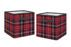 Red and Black Woodland Plaid Flannel Organizer Storage Bins for Rustic Patch Collection by Sweet Jojo Designs - Set of 2