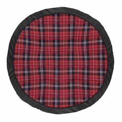Red and Black Woodland Plaid Flannel Playmat Tummy Time Baby and Infant Play Mat for Rustic Patch Collection by Sweet Jojo Designs
