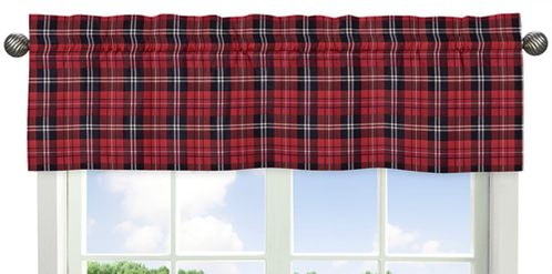 Red and Black Woodland Plaid Flannel Window Treatment Valance for Rustic Patch Collection by Sweet Jojo Designs - Click to enlarge