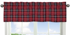 Red and Black Woodland Plaid Flannel Window Treatment Valance for Rustic Patch Collection by Sweet Jojo Designs