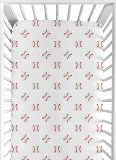 Red and White Baby or Toddler Fitted Crib Sheet for Baseball Patch Sports Collection by Sweet Jojo Designs